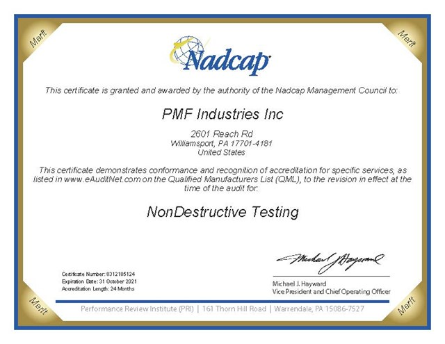 Nadcap Certification - NonDestructive Testing