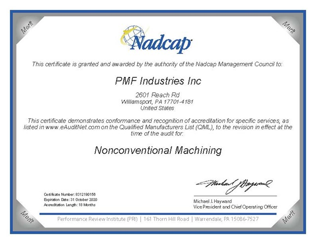 Nadcap Certification - Nonconventional Machining